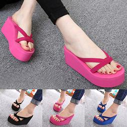 Summer Women Wedge Platform Flip Flops Sandals Beach Slipper