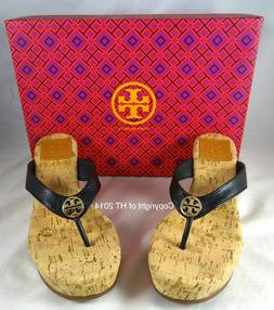 Tory Burch Suzy Black Tumbled Leather Cork Wedge Sandals 5-1