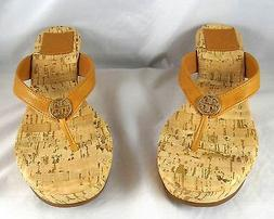 Tory Burch Suzy Tan Tumbled Leather Cork Wedge Sandals 5-11
