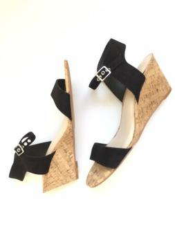 Sz 9 W Torrid Black Wedge Cork Sandals With Ankle Strap Text