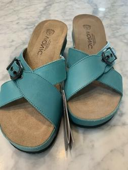 VIONIC TEAL SUEDE ORTHOTIC WEDGE SANDALS SHOES NEW ANKA SIZE