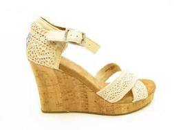 Toms Womens Strappy Cork Wedge Sandals Natural Crochet SIze
