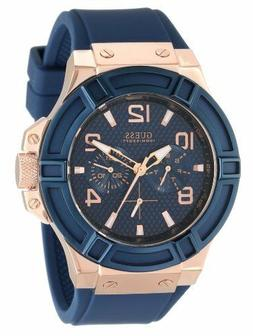 GUESS Men's Stainless Steel Silicone Casual Watch, Color: Ro