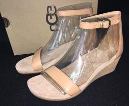 UGG Emilia Wedge Ankle Strap SANDALS Natural Leather Suede C