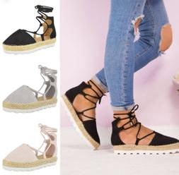 US Women Espadrille Sandals Lace up Strappy Round Toe Shoes