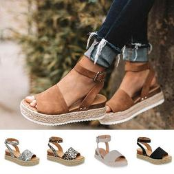 US Women's Ankle Strap Flatform Wedges Shoes Espadrilles Sum