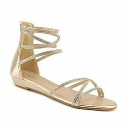 US Women's Ankle Strap Rhinestones Low Wedge Sandals Back Zi