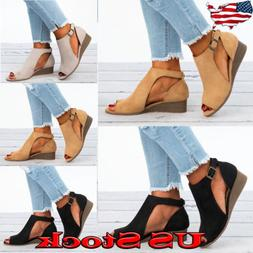 US Women's Suede Wedge Heel Summer Beach Sandals Peep Toe Bo