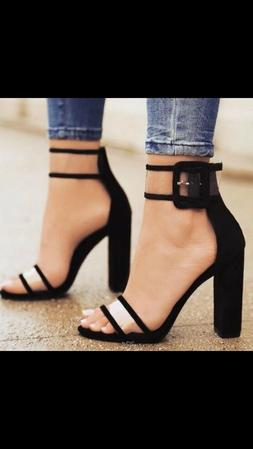 US Womens Ladies Block High Heels Buckle Ankle Strap Open To