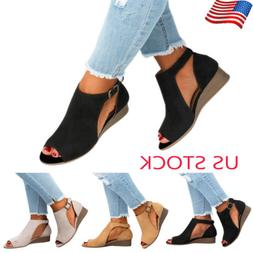 US WOMENS WEDGE HEELS LADIES SUMMER PEEP TOE SANDALS BOOTS A