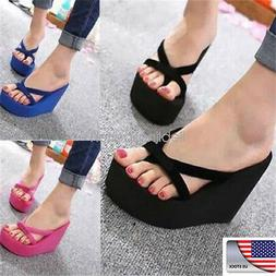 USA Summer Women Wedge Flat shoes Thong  Flops Sandals Beach