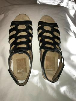 Dansko Valentina Flat Sandal Black Leather Medium Comfort 8.