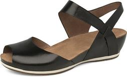 Dansko Vera Wedge Sandals Black Peep Toe Comfort NIB $140