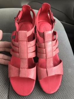 Keen Victoria Ribbon Red leather wedge ankle strap buckle sa