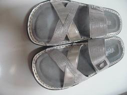 ALEGRIA VICTORIAH WEDGE SANDALS 39 SILVER LEATHER