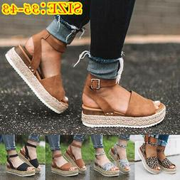 Women Espadrilles Platform Wedges Flat Sandals Ankle Buckle
