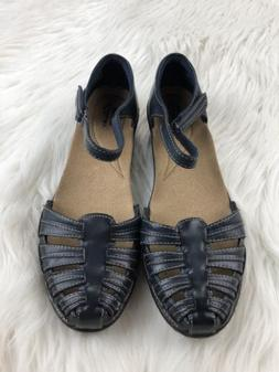 Clarks Wendy Suite Wedge Sandals 9 M Blue Leather Strappy An