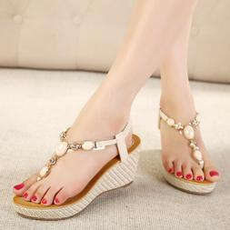 Woman Platform Espadrille Thong Wedge Sandal Leather Slingba
