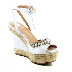 Woman Rhinestone Ankle Strap Platform Sandals Leatherette We
