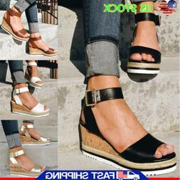 Women Ankle Strap Buckle Sandals Ladies Wedge Platform Heels