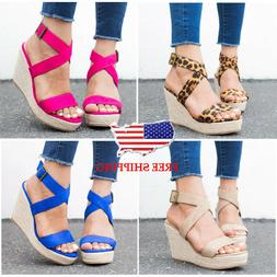 women ankle strap buckle sandals ladies wedge