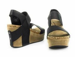 Women Pierre Dumas Hester 1 Black Wedge Sandals Open Toe Ela