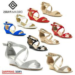 DREAM PAIRS Womens Ankle Strap Open Toe Low Wedge Summer Dre