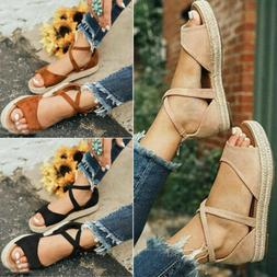 Women Ladies Flat Low Wedge Heel Platform Espadrille Sandals