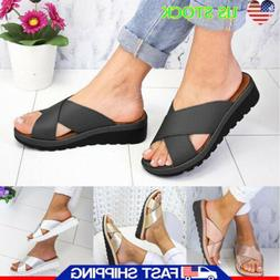Women Ladies Wedge Cross Strap Sliders Slip On Summer Sandal