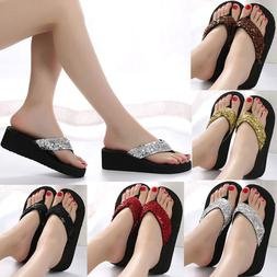 Women Lady Summer Sequins Anti-Slip Sandals Girl Wedge Heels
