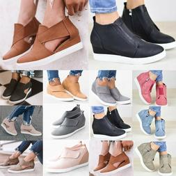 Women Lady Wedge Heel Sneakers Slip On Pumps Ankle Boots Tra