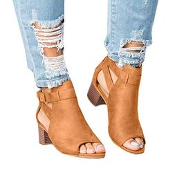 Women Low Heel Sandals Open Toe Ankle Strap Cut Out Wedge Sa