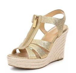 Women MK Michael Kors Berkley Wedge Zip Up Sandal Sparkle Me