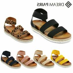 DREAM PAIRS Women Wedge Sandals Elastic Ankle Strap Open Toe