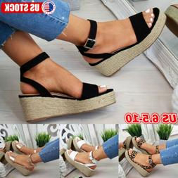 Women Platform Sandals Open Toe Espadrilles High Wedge Heels