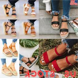 Women Platform Sandals Wedge Espadrille Ankle Strap Comfy Su
