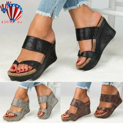 Women Platform Wedge High Heels Sandals Ladies Summer Flip F