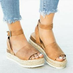Women Platform Wedge Sandals Ladies Ankle Strap Summer Espad