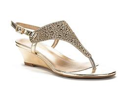 DREAM PAIRS Women's Aditi-New Gold Low Wedge Dress Sandals -
