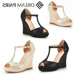 DREAM PAIRS Women Angeline Fashion Dress High Heel Wedges Pl