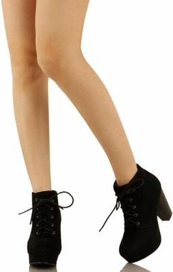 Womens Lace Up Chunky Heel Ankle Boots Booties Comfort Fashi