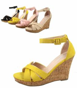 Women's Ankle Strap  Buckle Open Toe Wedge Platform Sandal S