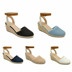 Women's Ankle Strap Espadrilles Close Toe Platform Wedge San