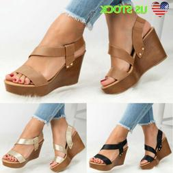 Women's Ankle Strap Wedge Heel Slingback Sandals Platform La