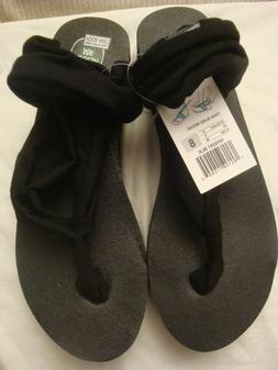 WOMEN'S SANUK BLACK SLING WEDGE FLIP FLOP SANDALS SIZE 8 NWT