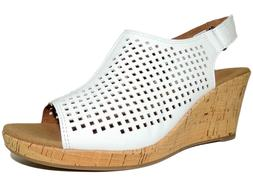 Rockport Women's Briah Perf Sling Sandals White Leather Size