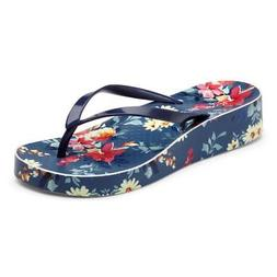 Vionic Women's Bronte Wedge Toe Post Sandals In Navy Floral