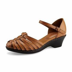 Thom McAn Women's Brown Dawna Wedge Sandals Shoes Size 8 Wid