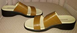 Women's Rockport Brown Leather 2-Band Slide Sandals - Size 9