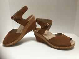 Dansko Women's Charlotte Ankle Strap Wedge Sandals Camel Nub